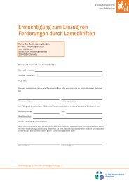 Ermächtigung zum Einzug von Forderungen durch ... - Indekark.de