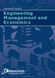 Engineering Management and Economics - Inderscience Publishers