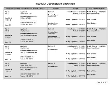 REGULAR LIQUOR LICENSE REGISTER - City of Tucson