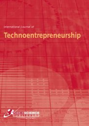 Technoentrepreneurship - Inderscience Publishers