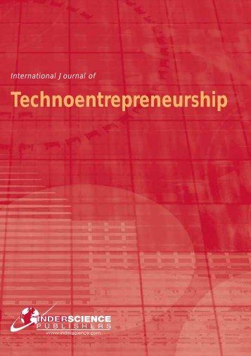 Technoentrepreneurship - Inderscience Publishers