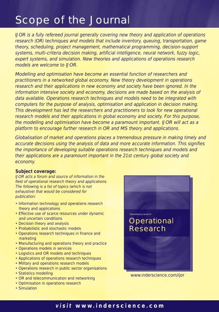 Operational Research - Inderscience Publishers