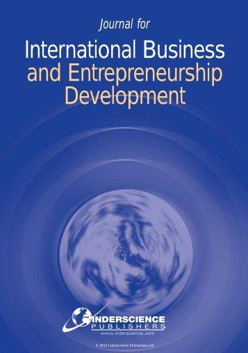 International Business and Entrepreneurship Development