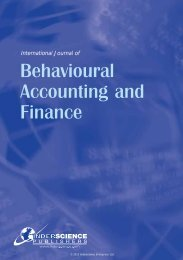Behavioural Accounting and Finance - Inderscience Publishers