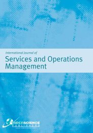 Services and Operations Management - Inderscience Publishers