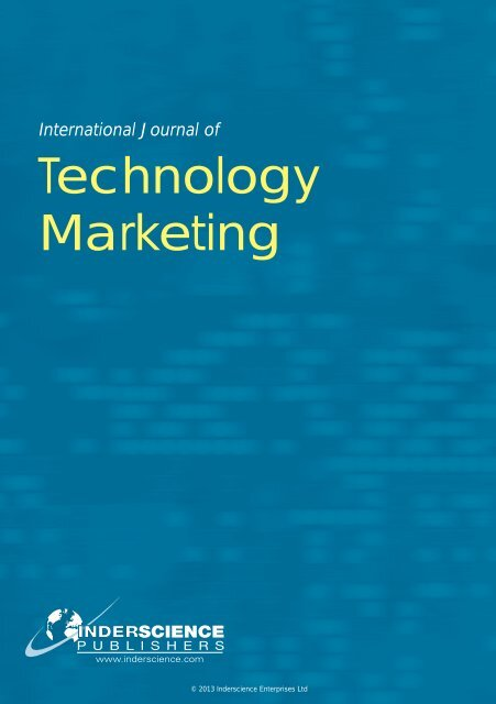 Technology Marketing - Inderscience Publishers