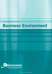 Business Environment - Inderscience Publishers