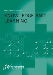 KNOWLEDGE AND LEARNING - Inderscience Publishers