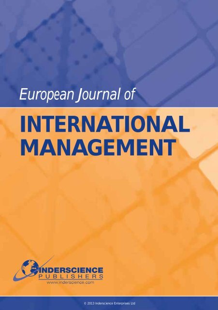 INTERNATIONAL MANAGEMENT - Inderscience Publishers