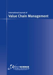 Journal of Value Chain Management. - Inderscience Publishers
