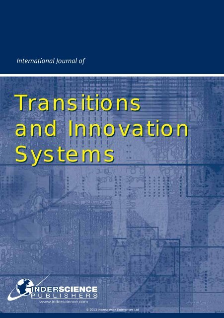 Transitions and Innovation Systems - Inderscience Publishers
