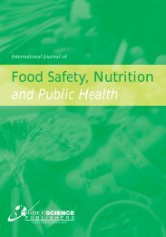 Food Safety, Nutrition and Public Health - Inderscience Publishers