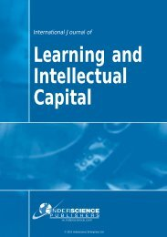Learning and Intellectual Capital - Inderscience Publishers