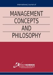 management concepts and philosophy - Inderscience Publishers