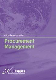 Procurement Management - Inderscience Publishers