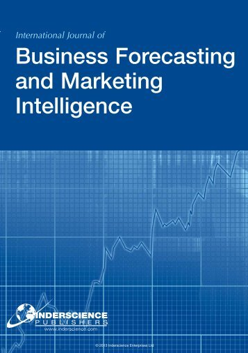 Business Forecasting And Marketing - Inderscience Publishers