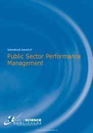 Public Sector Performance Management - Inderscience Publishers