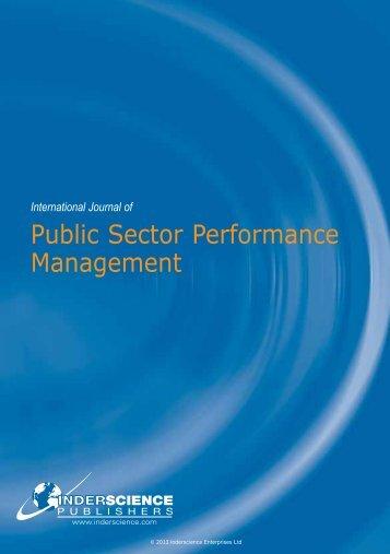 Public Sector Performance Management - Inderscience Publishers