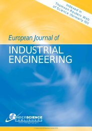 European Journal of Industrial Engineering - Inderscience Publishers