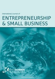 International Journal of ENTREPRENEURSHIP & SMALL BUSINESS