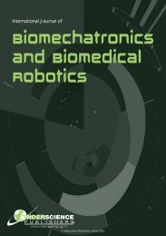 Biomechatronics and Biomedical Robotics - Inderscience Publishers