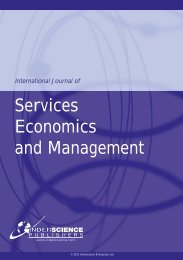 Services Economics and Management - Inderscience Publishers