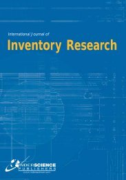 International Journal of Inventory Research - Inderscience Publishers