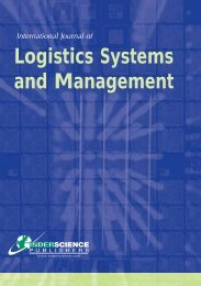 Logistics Systems and Management - Inderscience Publishers