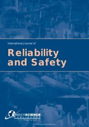 Reliability and Safety - Inderscience Publishers