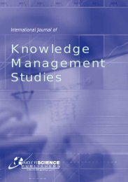Knowledge Management Studies - Inderscience Publishers