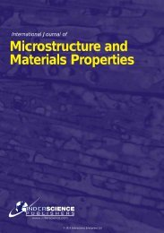 Microstructure and Materials Properties - Inderscience Publishers