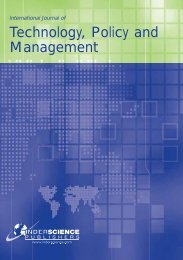 Technology, Policy and Management - Inderscience Publishers