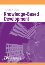 Knowledge-Based Development - Inderscience Publishers