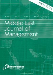Middle East Journal of Management - Inderscience Publishers