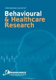 Behavioural & Healthcare Research - Inderscience Publishers
