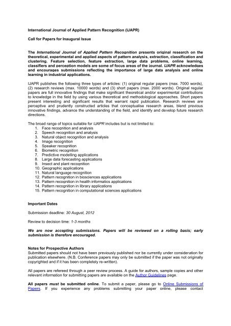 International Journal of Applied Pattern Recognition (IJAPR) Call for ...