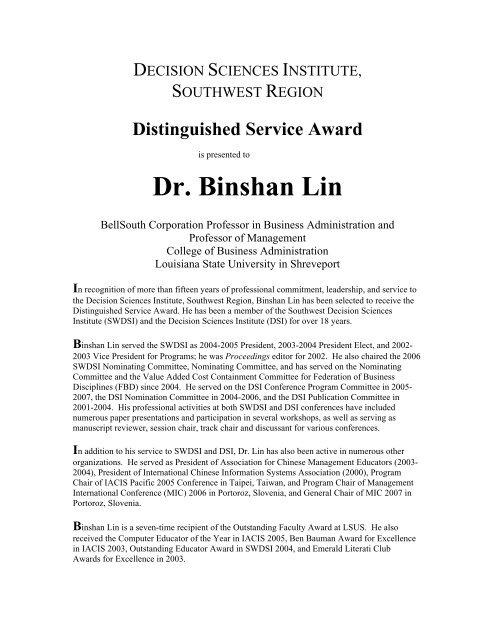 Dr. Binshan Lin - Inderscience Publishers