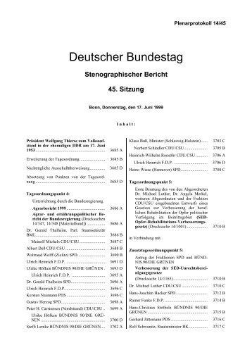Stenographischer Bericht 45. Sitzung - Deutscher Bundestag