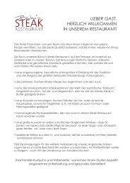 Speisekarte Bülow's Steak Restaurant - Hotel Polar-Stern
