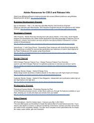 Adobe Resources for CS5.5 and Release Info: - InDesign User Group