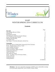 HASP WINTER/SPRING 2014 CURRICULUM - Hope College