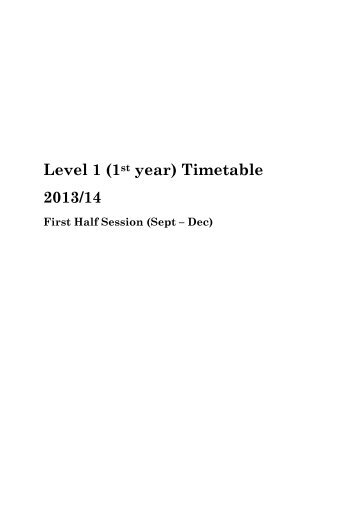 Level 1 (1st year) Timetable 2013/14 - University of Aberdeen