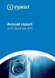 08/04/2011 Annual Report at 31 December 2010 - Indesit