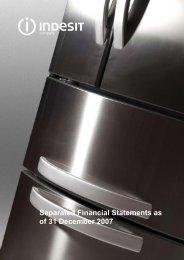 Separate Financial Statements 2007 - Indesit