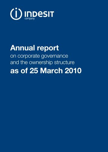 Annual report as of 25 March 2010 - Indesit