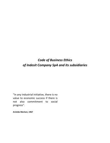 Code of Conduct - Indesit
