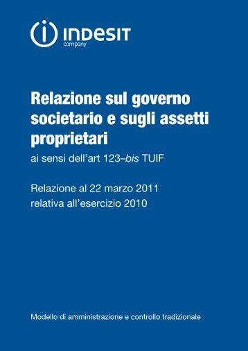 Relazione annuale al 22 marzo 2011 sul governo societario ... - Indesit