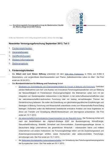Newsletter Versorgungsforschung September 2013, Teil 3