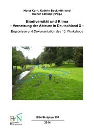 Biodiversität und Klima - Vernetzung der Akteure in Deutschland X