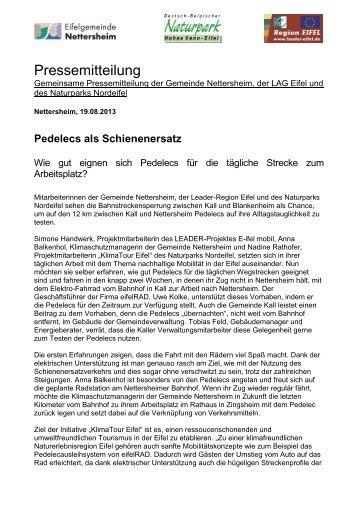 Pedelecs als Schienenersatz - Blankenheim
